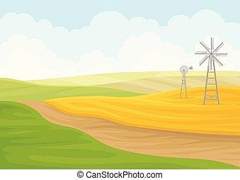 moinho de vento, ilustração, experiência., vetorial, field., branca
