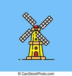moinho de vento, linha, holandês, ícone
