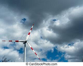 moinho de vento, nuvens