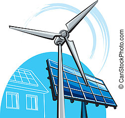 moinho de vento, painel solar
