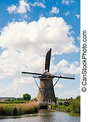 moinho de vento, paisagem, em, kinderdijk, a, países baixos