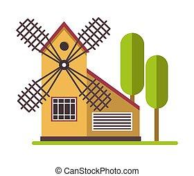 moinho de vento, terra, agicultural, rural, árvores, fazenda, estrutura