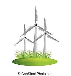 moinho de vento, turbina, energia, ícone