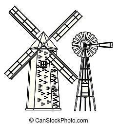 moinho de vento, turbina, pretas, branca, vento