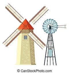 moinho de vento, turbina, vento