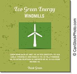 moinhos vento, ecologia, orgânica, bandeira, natureza, eco, cartaz, energia, etiquetas, quotes., -, apresentação, verde, vector., texto, concept., cartões.