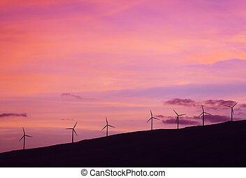 moinhos vento, pôr do sol