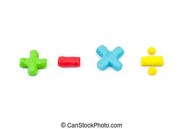 moins, symbole, plasticine, opérateur, (plus,...