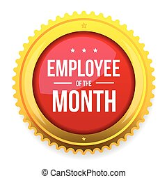 mois, écusson, récompense, employé