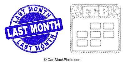 mois, cachet, calendrier, bleu, timbre, toile, maille, dernier, février, détresse