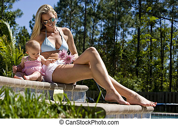 mois, délassant, mère, bébé, vieux, piscine, six, suivant