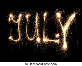 mois, juillet, sparkler