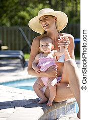 mois, mère, bébé, vieux, piscine, six, suivant