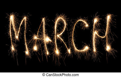 mois, mars, sparkler
