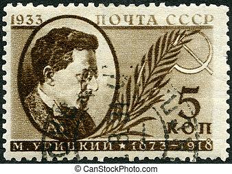 moisei, revolucionario, 1933:, -, uritsky, (1873-1918), solomonovich, u.r.s.s., ruso, exposiciones