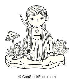 moisissure, peu, jardin, girl