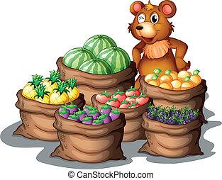moissonné, récemment, ours, fruits
