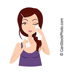 Moisturisation. Girl Applying Wet Wipes. Vector
