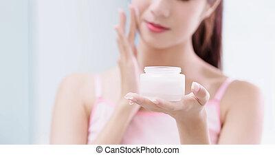 moisturizer, conceito, mulher