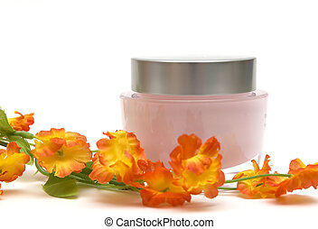 moisturizer cream and flower