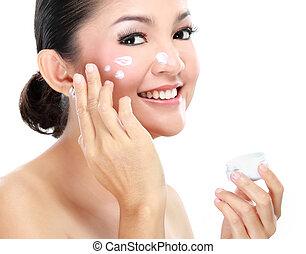 moisturizer, mulher, aplicando creme