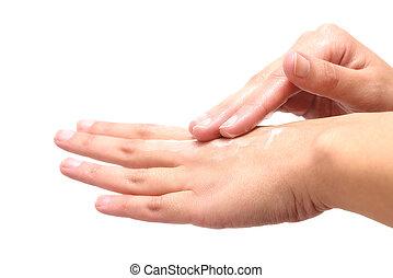 moisturizing, ローション剤をつける, 女性手, 白