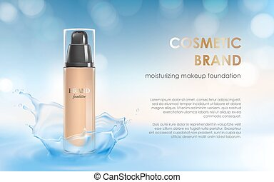 Moisturizing colorstay make-up in elegant packaging on a background of water splash