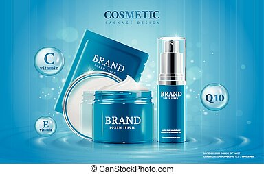 Moisturizing cosmetic ads template, 3D illustration cosmetic...