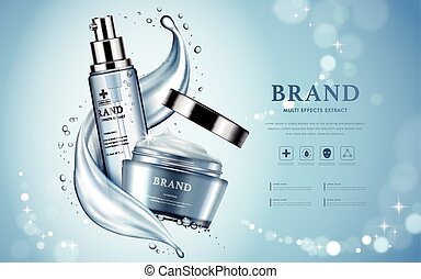 Moisturizing cosmetic products ad, light blue bokeh...
