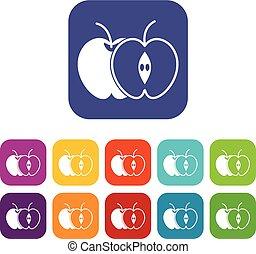 moitié, ensemble, pomme entière, icônes
