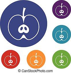 moitié, ensemble, pomme, icônes