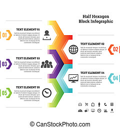 moitié, infographic, bloc, hexagone