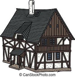 moitié, maison, historique, boisé