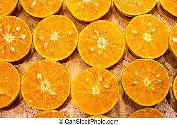 moitié, orange fraîche, coupure, produire, jus