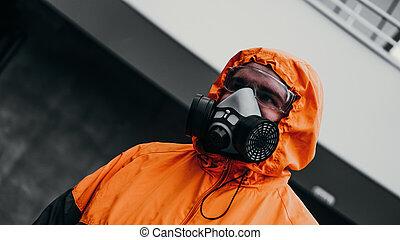 moitié, protection, respirateur, gaz toxique, masque