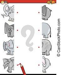 moitiés, allumette, éléphants