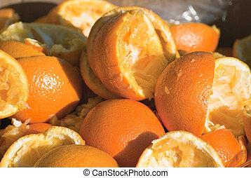 moitiés, jeté, orange, serré