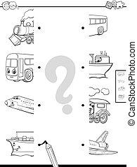 moitiés, véhicules, coloration, allumette, page