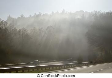 moiuntains, dymny, przez, podróżowanie
