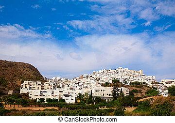 mojacar, in, almeria, villaggio, orizzonte, in, spagna