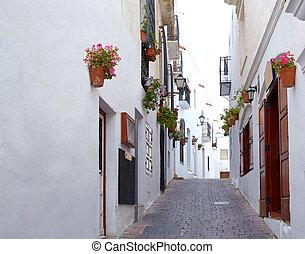 mojacar, méditerranéen, village, blanc, almeria, espagne