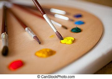 mojado, de madera, pinturas, pallet., foco, amarillo, papá,...