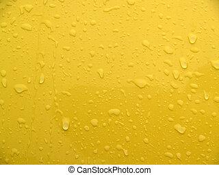 mojado, metal, amarillo, resumen