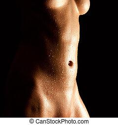 mojado, mujer desnuda, abdomen, joven