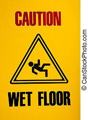 mojado, señal, piso
