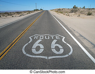 Historic Route 66 crossing California's mojave desert.