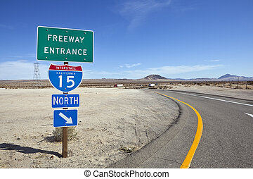 Mojave Desert Interstate 15 Freeway near Baker California -...