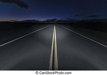 Mojave Desert Road Route 66 Night