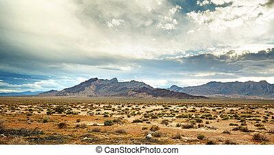 mojave, panorámico, desierto, vista