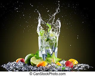 mojito, éclaboussure, glace, boisson